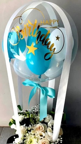 Happy Birthday printed Balloon with 20 flowers balloon filled with blue white balloons