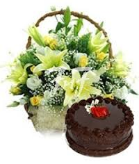 A basket of lilies and 1 kg cake