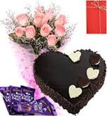 A bouquet of 12 roses with 1 kg heart cake, 4 silk chocolate bars and greeting card
