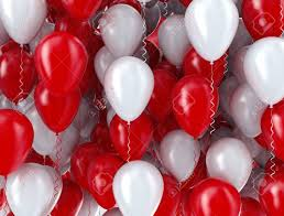 20 Gas filled red white Balloons tied to ribbons