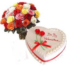 A heart Arrangement of 20 mix roses and 1 kg heart cake