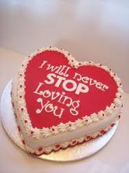 1 kg cake in heart shape with icing i will never stop loving you