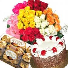 Basket of 40 mix roses and 16 ferrero chocolates and 1/2 kg cake