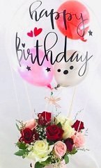 Happy Birthday printed transparent balloon 10 red roses in a bouquet