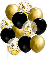 20 Gas filled gold confetti black Balloons tied to ribbons