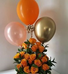 20 Orange roses basket with 1 gold 1 orange 1 pink balloons