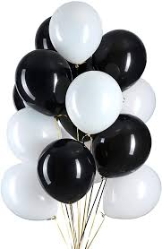 15 Gas filled black and white Balloons tied to ribbons