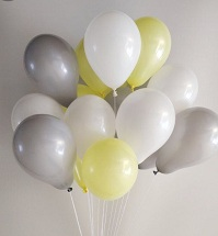 15 Gas filled yellow silver white Balloons tied to ribbons