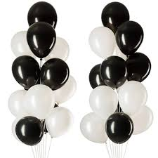 20 Gas filled black white Balloons tied to ribbons