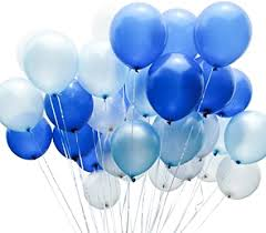 20 Gas filled blue white Balloons tied to ribbons