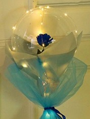 1 Clear blue flower transparent bubble balloons with led lights