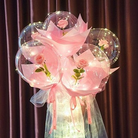 Luminous 5 pink roses inside 5 transparent balloon with White and pink Wrapping