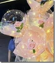 3 Luminous LED Balloons with 3 Pink roses inside transparent balloon with Pink and white Wrapping