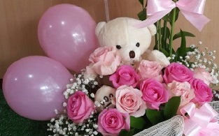 Teddy and 12 Light and dark Roses in a basket with 2 Pink color balloons
