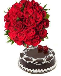 Arrangement of 20 roses and 1 kg black forest cake