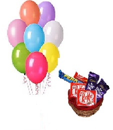 10 Air filled Balloons Basket of chocolates 2 Kikat 2 dairy Milk 2 Perk