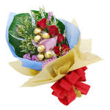 Bouquet of 6 roses and 5 ferrero chocolates