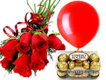 A bouquet of 6 red roses 1 balloon and 16 ferrero chocolates
