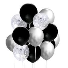 15 Gas filled silver black confetti Balloons tied to ribbons