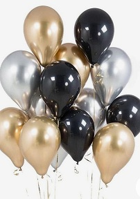 30 helium Gas filled gold confetti black Balloons tied to ribbons