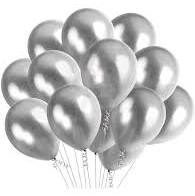 10 Gas filled silver Balloons tied to ribbons