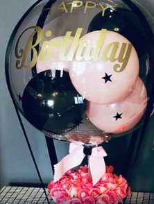 Pink black Balloon inside clear bubble balloon with 20 pink red roses