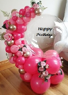 30 small and big dark and light red balloons arch with red flowers and happy birthday organic clear balloon