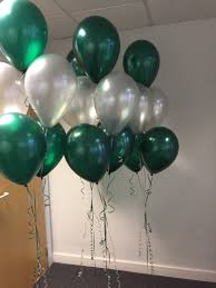 15 Gas filled green silver Balloons tied to ribbons