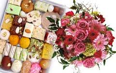 1/2 kg sweets with 15 flowers bunch