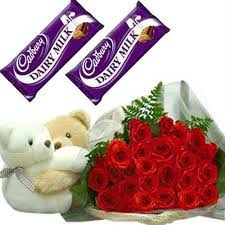 18 red roses bouquet 1 Teddy 2 dairy milk chocolate