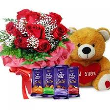 4 silk chocolates with 6 red roses bouquet and teddy bear 6 inch