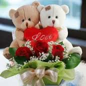 3 red roses in basket with 2 Valentine heart and 2 Teddy bears