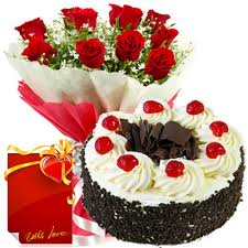 1/2 kg black forest cake and 12 red roses bunch