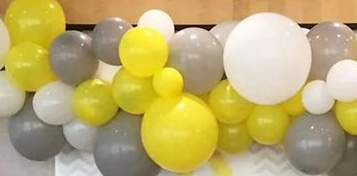 20 Gas filled yellow silver white Balloons tied to ribbons