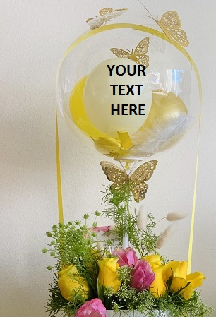 Transparent Balloon Printed WITH YOUR TEXT in 3 words only Tied with basket of roses